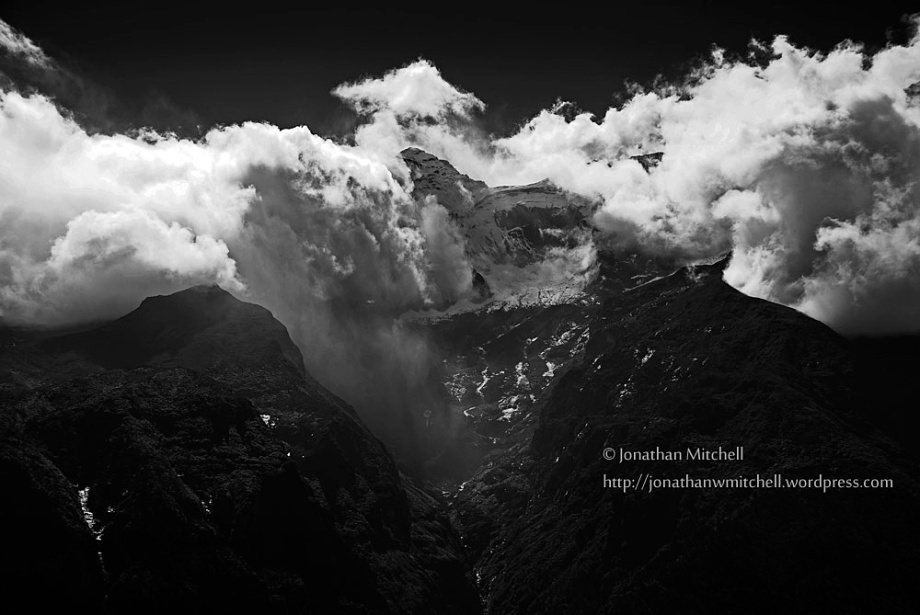 NEPAL Everest Region -- Mount Nup La swathed in clouds in the Everest region of Nepal -- Picture by Jonathan Mitchell