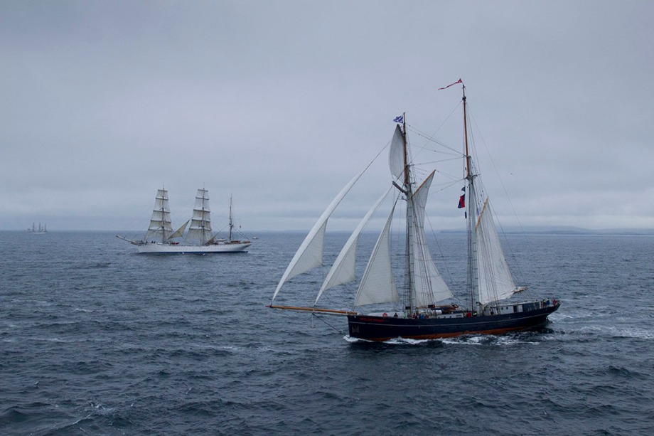 UK SCOTLAND Lerwick -- 25 Jul 2011 -- The Dutch tall ship WYLDE SWAN (right) and the Norwegian tall ship STRATSRAAD LEHMKUHL under full sail as she approches the start line of the second leg of the Tall Ships Race 2011. Over 50 ships departed from Lerwick to begin the second leg of the race to Stavanger in Norway -- Picture by Jonathan Mitchell
